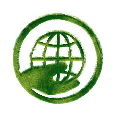 Recycle symbol made of grass Archivio Fotografico
