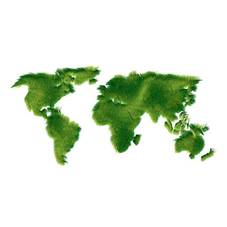World map made of realisting green grass