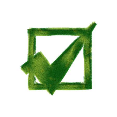 checkbox icon made of realistic green grass Archivio Fotografico