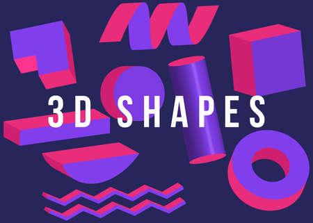 3d shapes. Set isolated elements colors. Modern abstract pattern, bright colorful paint splash fluid Foto de archivo - 138047473