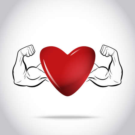 strong: Healthy and Strong Heart Illustration