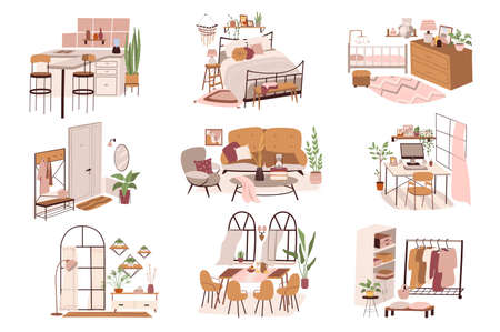 Different rooms at home isolated scenes set. Kitchen, bedroom, hallway, living room, wardrobe. Furniture and decorations. Bundle of modern interiors. Vector illustration in flat cartoon for web design