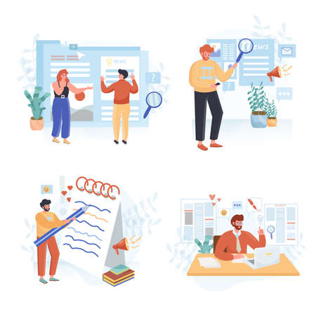 Journalism concept scenes set. Journalist writes article, online media publish post, news on publication website. Collection of people activities. Vector illustration of characters in flat design 向量圖像
