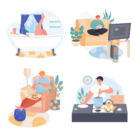 People spend weekend at home concept scenes set. Man playing game, eating pizza, cooking at kitchen, woman bathing. Collection of people activities. Vector illustration of characters in flat design Ilustração Vetorial