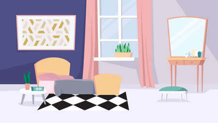 Womens room interior, banner in flat cartoon design. Female apartment inside. Bedroom with cozy bed, bedside table, window with curtains, dressing table, decor. Vector illustration of web background
