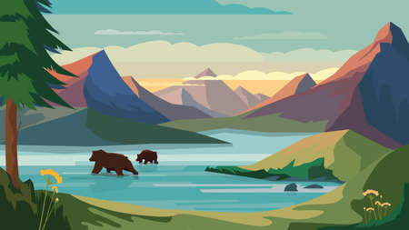 Mountains view, banner in flat cartoon design. Rock peaks, mountains lake, bears swimming in water, forest on slopes lakeside. Wildlife panoramic landscape. Vector illustration of web background