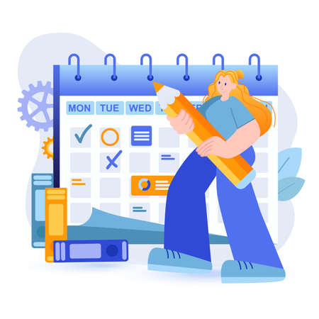 Business planning concept. Employee makes plan for company or office, notes meetings, important dates and deadlines scene. Time management. Vector illustration with people character in flat design Vektoros illusztráció
