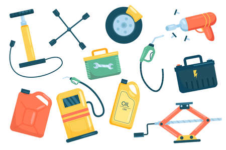 Car service cute elements isolated set. Collection of repair and maintenance equipment. Wheel, wrench, pump, canister, station, jack, battery, refueling gun. Vector illustration in flat cartoon design