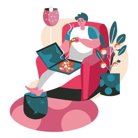People spend weekend at home scene concept. Man eating pizza while sitting in chair in living room. Resting, hobby and leisure, people activities. Vector illustration of characters in flat design