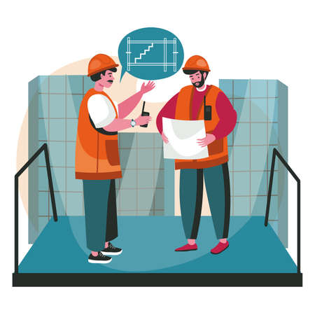 Architects discussing blueprint scene concept. Engineers team in helmets talk about device of staircase in house, looking at plan, people activities. Vector illustration of characters in flat design Vetores