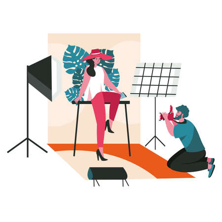 People work as photographers scene concept. Man makes photo session of posing fashion model in the studio. Profession and hobby people activities. Vector illustration of characters in flat design Vektoros illusztráció