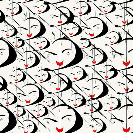 funny face in indian currency shaped and seamless pattern