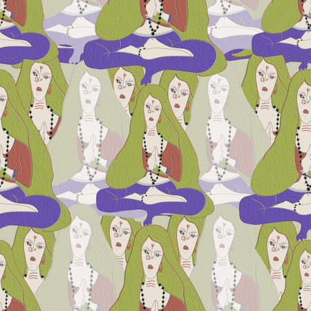 sitting women and seamless pattern or indian women sitting in Folded hands for meditation