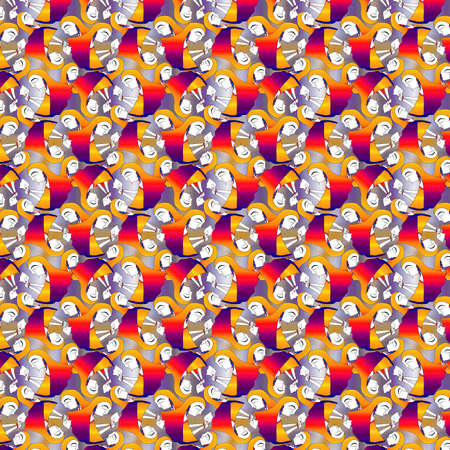 indian woman wiping her tears seamless pattern