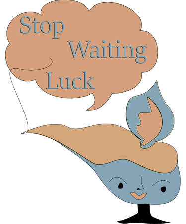 stop waiting luck text and alladin lamp