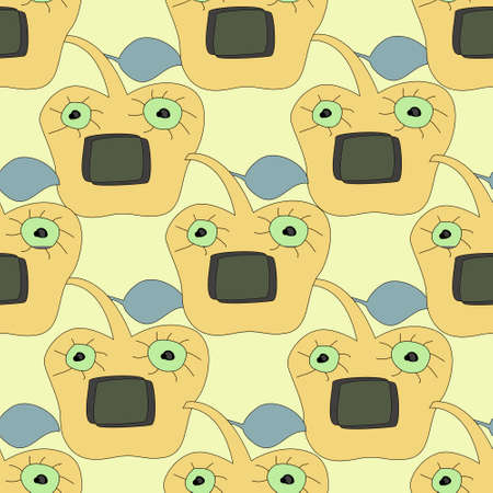 apple face cartoon and seamless pattern
