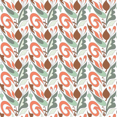 curve and nature shaped seamless  pattern