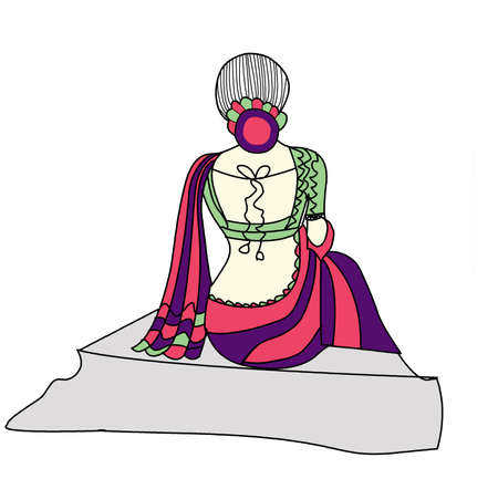 indian  lady sitting out line background art