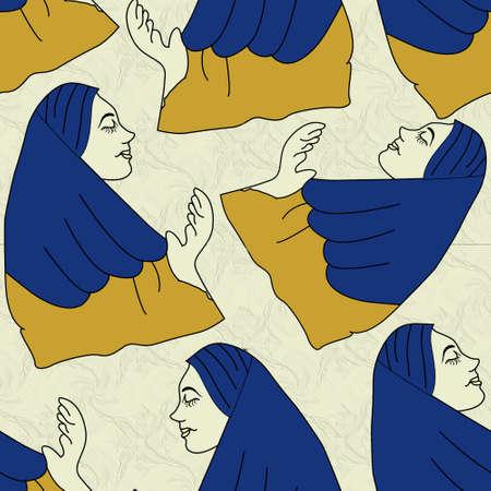 namaz pose lady seamless pattern work