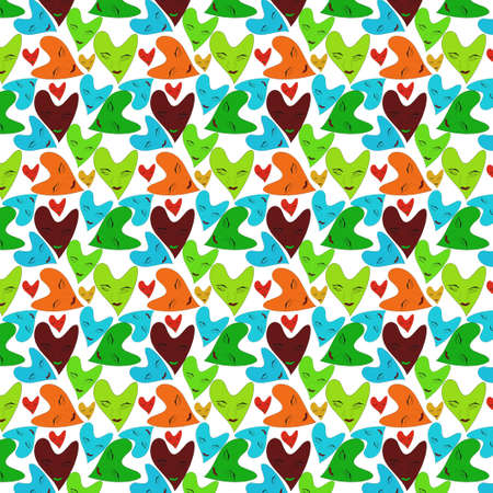 girl face and love shape seamless pattern