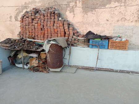 damaged  usless junk object on home terrace