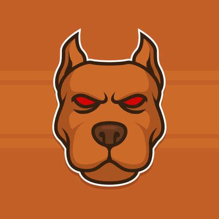 Dog Head Pit Bull Animal Wild Vector Illustration Logo Mascot