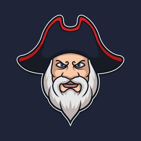 Pirate Head Character Vector Mascot Illustration