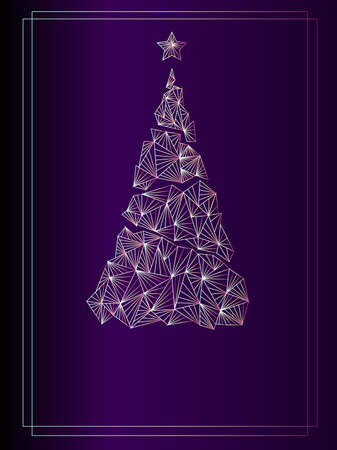 Merry Christmas gold invitation. Background purple color on Dark Light ,Geometric design gold tree. Happy New year greeting card. Vector Vettoriali