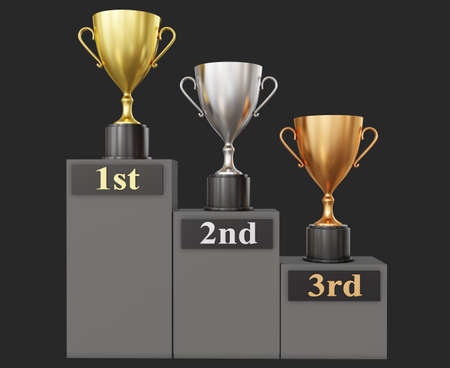 3d Illustration of three different trophies in golden, silver and bronze material on black background.