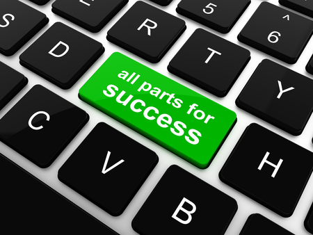 all parts for success button on computer keyboard key, raster photo