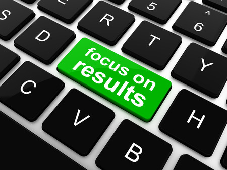 focus on results button on computer keyboard key, raster photo