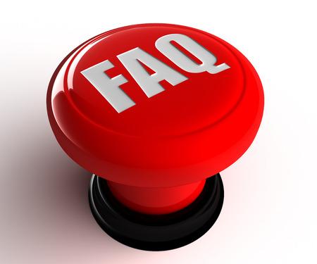faq round red glossy icon on white background photo