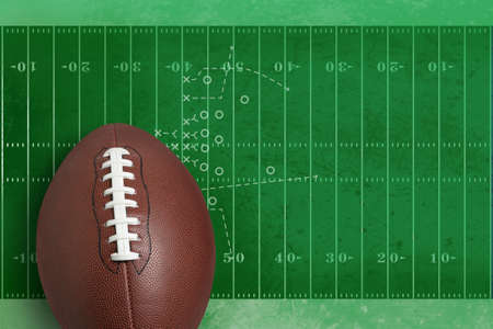 Football on green textured field diagram Stock Photo