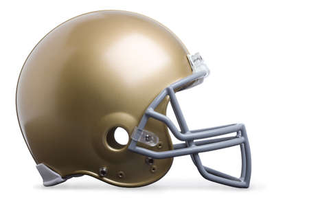 face guard: Gold football helmet isolated on white in side view
