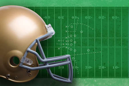 Gold football helmet against textured field diagram Stock Photo - 15076376