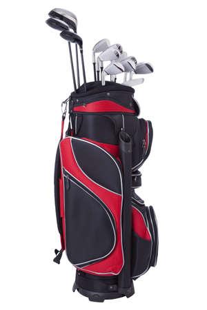 흰색에 고립 된 클럽과 빨간색과 검은 색 골프 가방