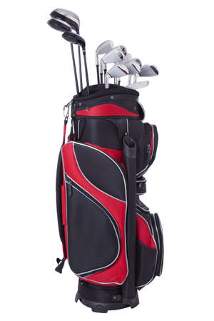 golf: Red and black golf bag with clubs isolated on white Stock Photo