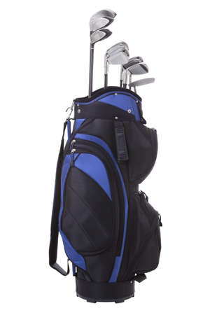 Blue and black golf bag with clubs isolated on white