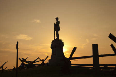 Silhouette of Civil War monument at Bloody Lane, Antietam Battlefield  This monument is in honor of the 130th Pennsylvania Volunteer infantry  Stock Photo