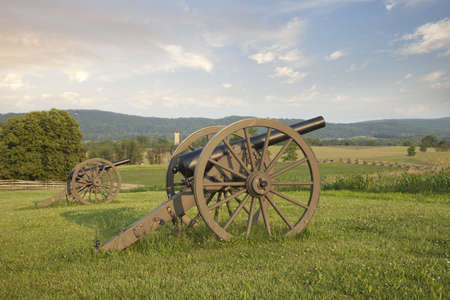 Cannon at Antietam  Sharpsburg  Battlefield in Maryland with the fence of Bloody Lane