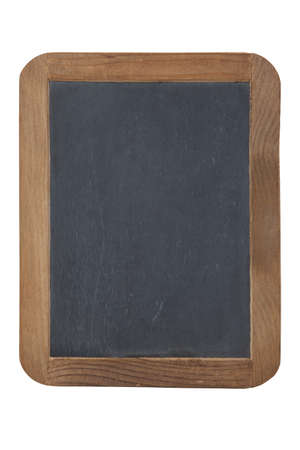 An old slate chalkboard primer with wooden frame isolated on a white background