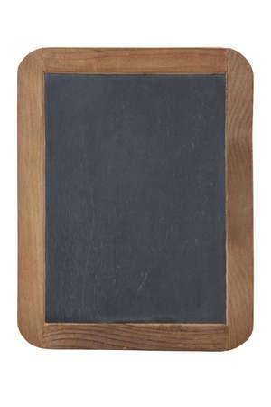 Een oude leisteen schoolbord primer met houten frame geïsoleerd op een witte achtergrond