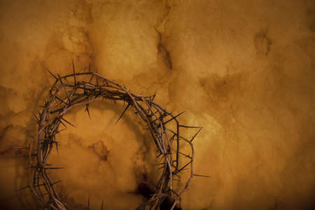 jesus christ crown of thorns: Crown of thorns on golden orange background