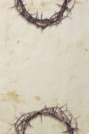 crown of thorns: Two crowns of thorns at the top and bottom of a textured paper background