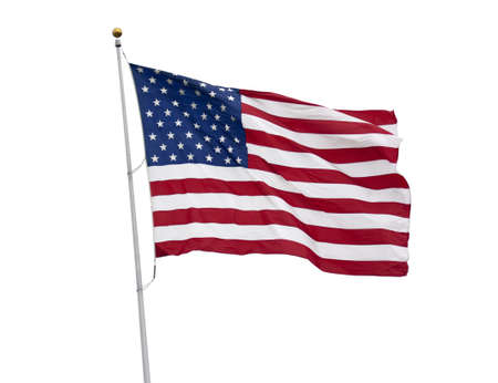 An American flag flying in the breeze isolated on white photo