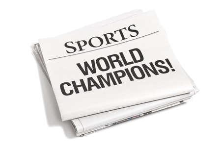 見出しで新聞のスポーツ欄