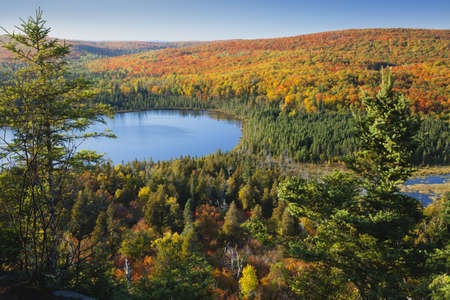 Lake Oberg in northern Minnesota surrounded by blazing autumn color Stock Photo - 17692249
