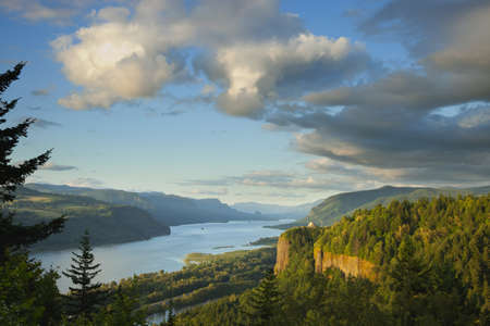 A view of the Columbia River Gorge at sunset