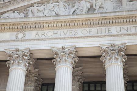 Detail of the facade of the National Archives building in Washington DC