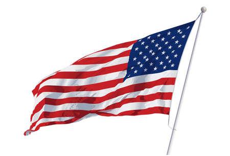 флагшток: Векторные иллюстрации американского флага развевались на ветру Иллюстрация